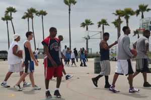 Jase (the white boy) at a run with Venice Beach Streetball Locals